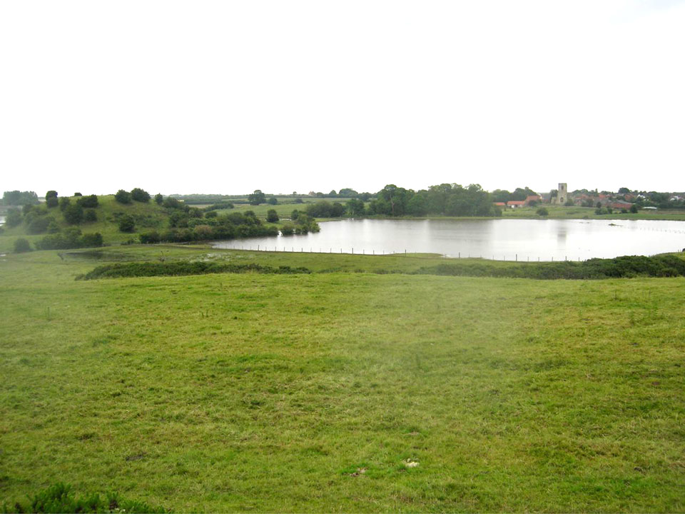 The motte from bailey, the outline of the surrounding mere clearly shown by flooding. Photo Philip Davis
